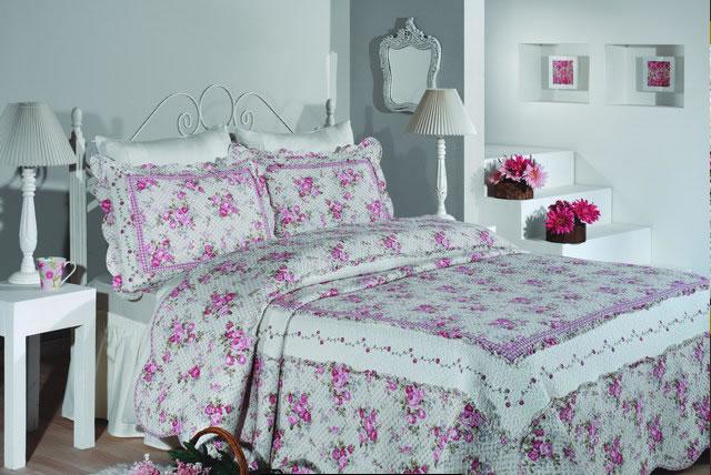 cassandra rose pink yatak örtüsü